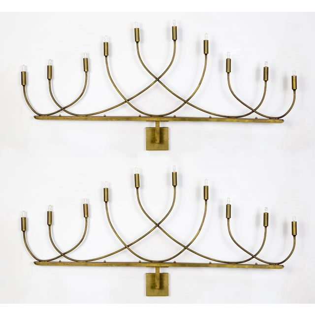 Large Hollywood Regency Low Relief 10-Light Brass Sconces - a Pair For Sale - Image 9 of 9