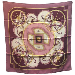 Hermes Vintage Washington's Carriage Silk Scarf in Rose C1970s For Sale