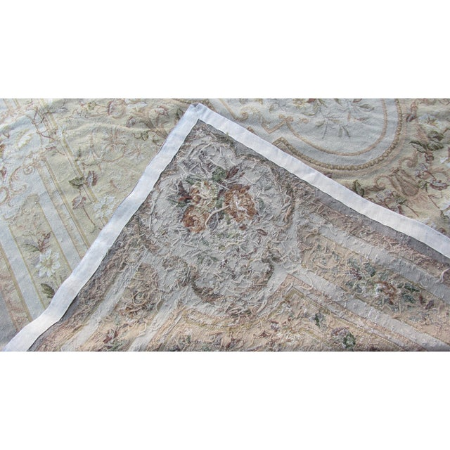 "Vintage French Aubusson Needlepoint Rug - 7' 8"" X 9'11"" - Image 11 of 11"