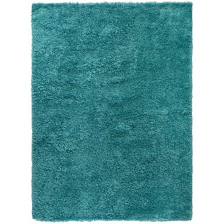 """Turquoise Contemporary Shag Rug -- 8'8"""" x 11'9"""" For Sale"""