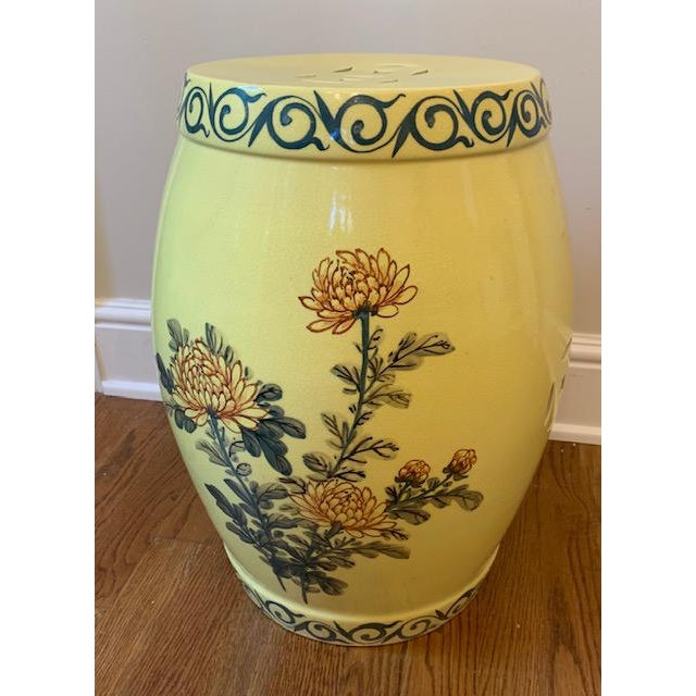 Yellow Vintage Imported Hand Painted Chinoiserie Garden Stool For Sale - Image 8 of 8