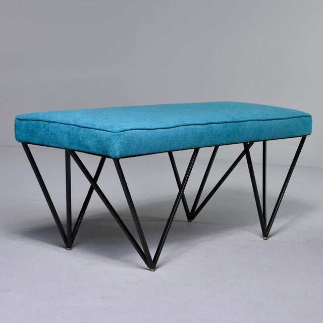 Contemporary Italian Mid-Century Style Bench With Teal Fabric and Black Metal Legs For Sale - Image 3 of 10