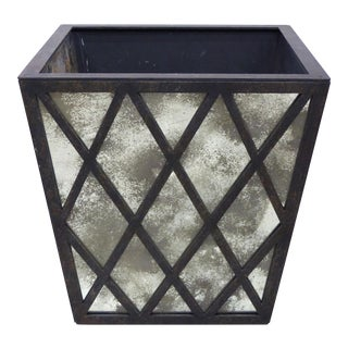 Overs-Scale Substantial Iron & Aged Glass Planter For Sale
