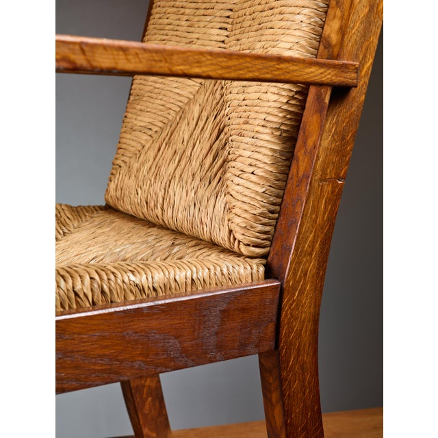 Willi Ohler Pair of Willi Ohler Chairs in Oak and Original Rush, Germany, 1920s For Sale - Image 4 of 5