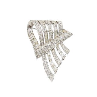 Boucher Rhodium Plated Rhinestone Brooch, 1954 For Sale