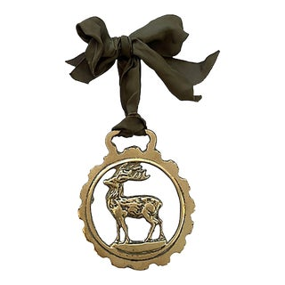 19th-C. English Horse Brass Stag Ornament For Sale