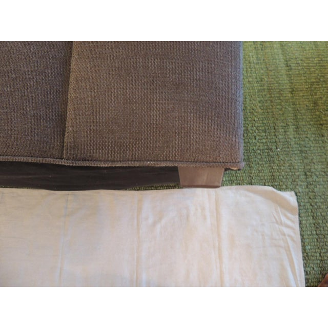 Crate and Barrel Chaise Lounge in Brown Linen For Sale - Image 10 of 12