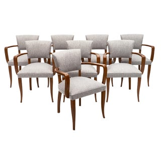 Eight French Art Deco Bridge Chairs For Sale