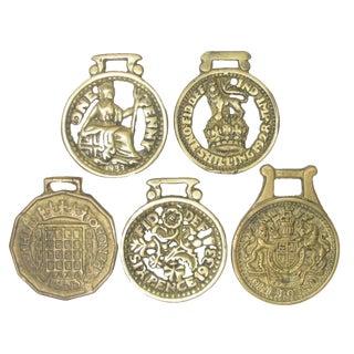 English Money Motif Horse Brasses, S/5 For Sale