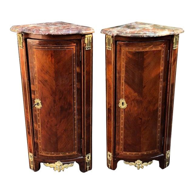 Pair of Antique 18th C Louis XVI French Corner Cabinets For Sale - Pair Of Antique 18th C Louis XVI French Corner Cabinets Chairish