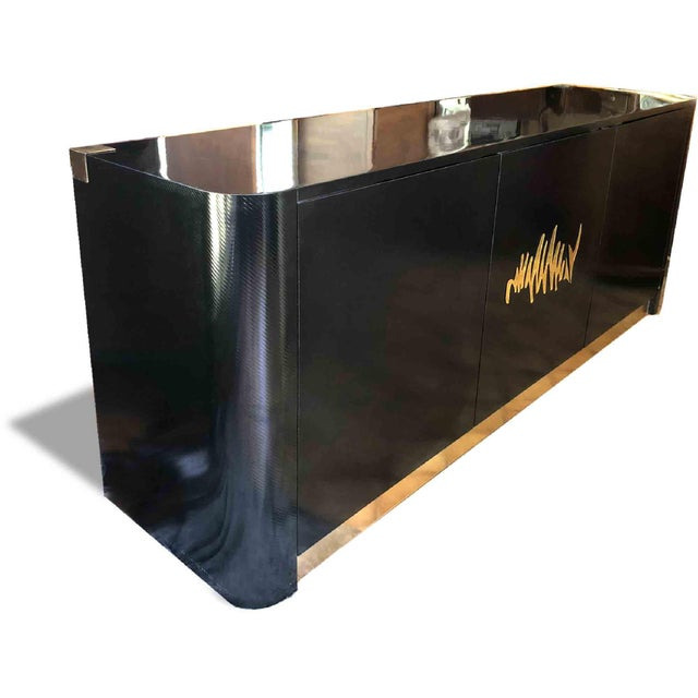 Campaign 1970s Hollywood Regency Black and Gold Mirror Scribble Credenza For Sale - Image 3 of 12