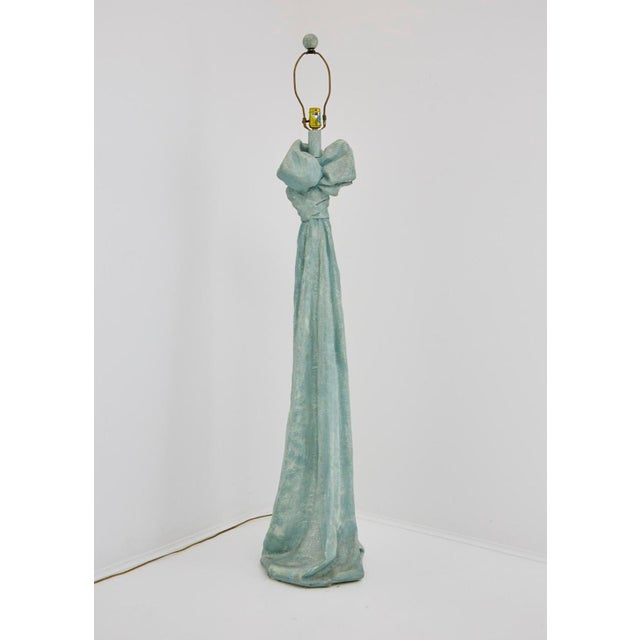 Vintage Dickinson Style Plaster Floor Lamp in Form of Draped Cloth For Sale - Image 10 of 11