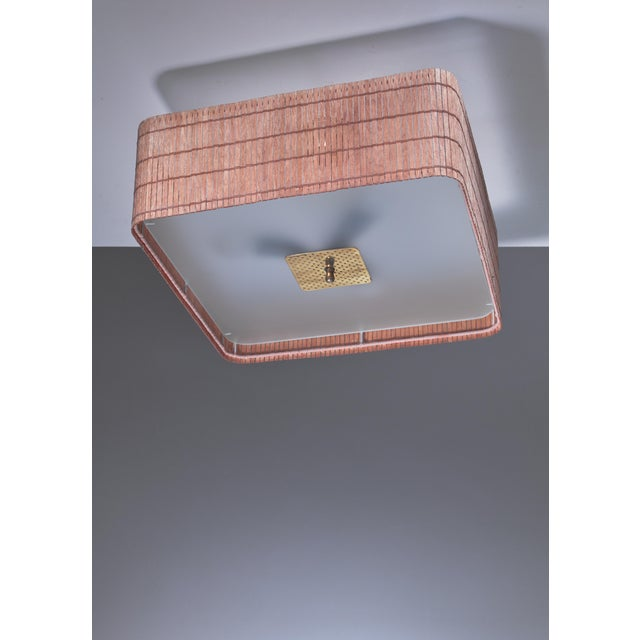 Paavo Tynell Paavo Tynell wood and glass flush mount, Finland For Sale - Image 4 of 4