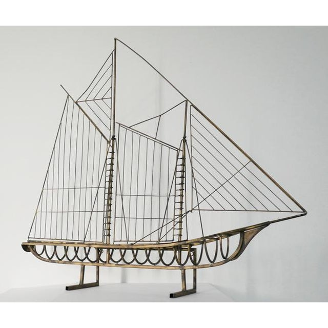 Vintage Brass Skeleton Ship Sculpture Attributed to Curtis Jeré For Sale In Palm Springs - Image 6 of 6