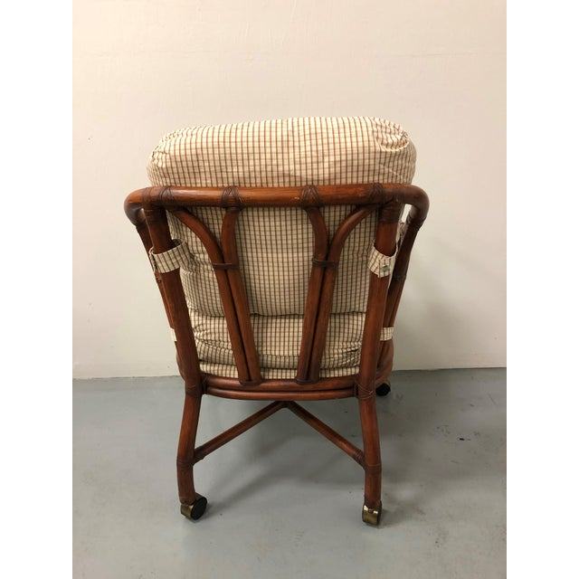 2000 - 2009 Ficks Reed Rattan Bent Bamboo Leather Bound Dining Set - 5 Pieces For Sale - Image 5 of 9