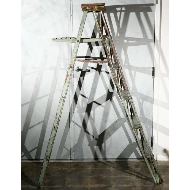 Metal Vintage Painted Ladder as a Display Stand For Sale - Image 7 of 10