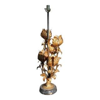 Mid-Century Modern Tall Gilt Tole Maison Charles 5 Light Open Lotus Bud Lamp For Sale