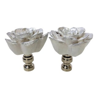 White and Platinum Silver Flower Finials by C. Damien Fox, a Pair. For Sale