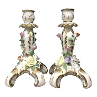 KPM Porcelain Candlesticks With Roses & Gold Gilt - a Pair For Sale