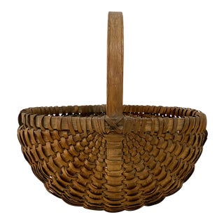 19th Century New England Splint Oak Basket For Sale