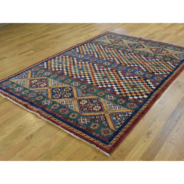 Islamic Kazak Khorjin Hand-Knotted Pure Wool Rug For Sale - Image 3 of 13