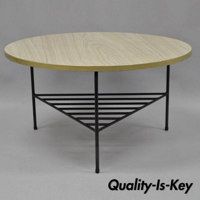 1950s Mid-Century Modern Paul McCobb Style Wrought Iron Tripod Coffee Table For Sale - Image 13 of 13