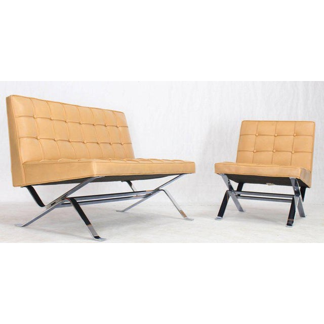 """Mid-century modern chrome metal bent Z-base tufted upholstery living room set. The lounge chair width is 25"""". Made in the..."""