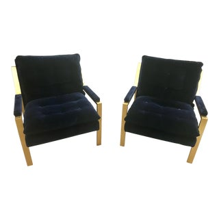 Worlds Away Cameron Gold Leaf Navy Blue Upholstered Arm Chairs - a Pair For Sale