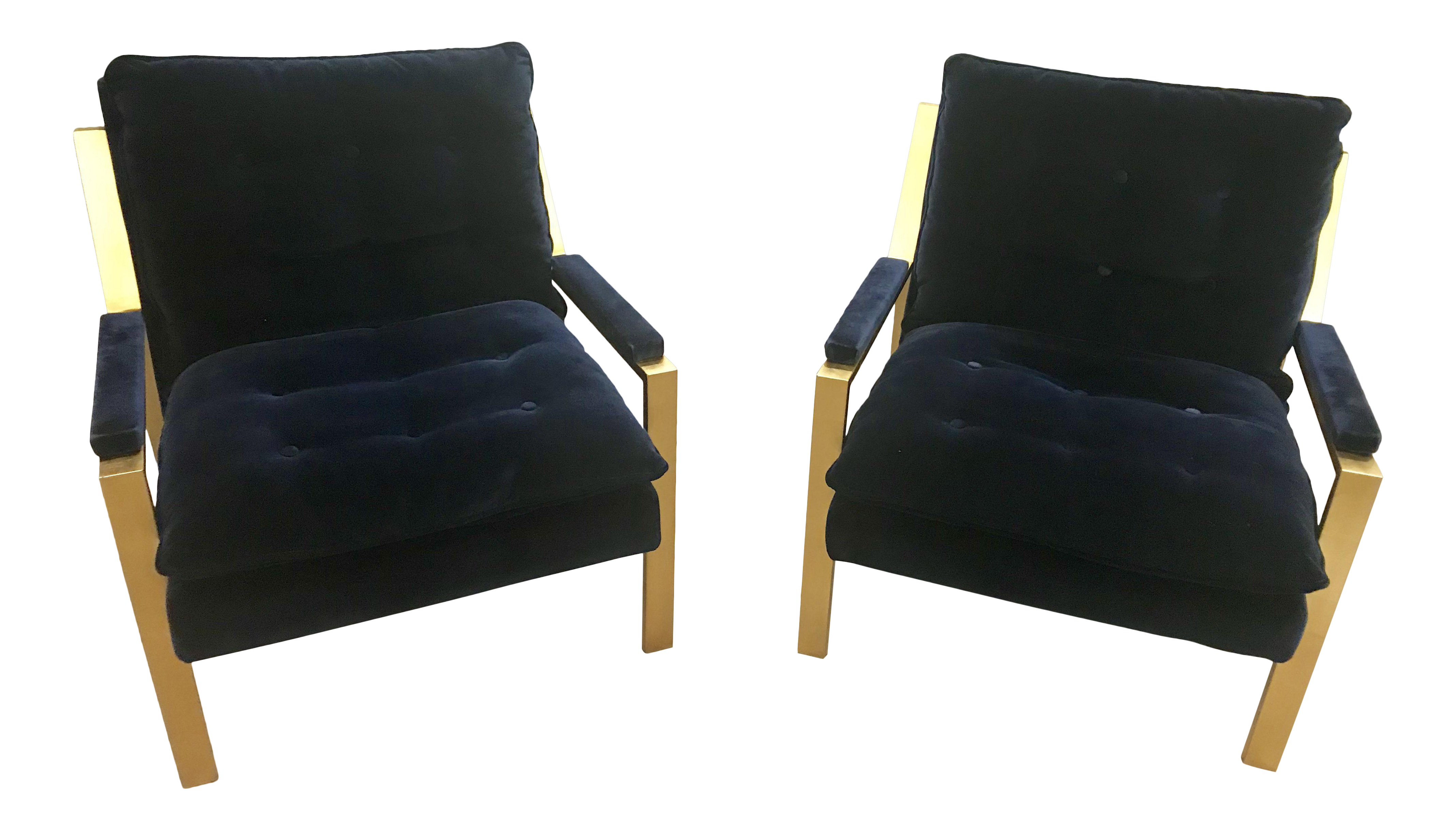Beau Worlds Away Cameron Gold Leaf Navy Blue Upholstered Arm Chairs   A Pair