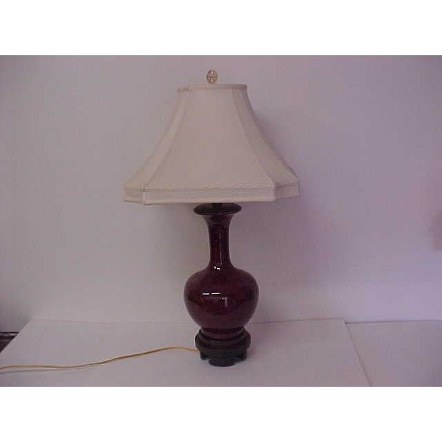 Large Frederick Cooper lamp with rosewood pedestal base, harp and decorative finial makes a wonderful addition to Asian ,...
