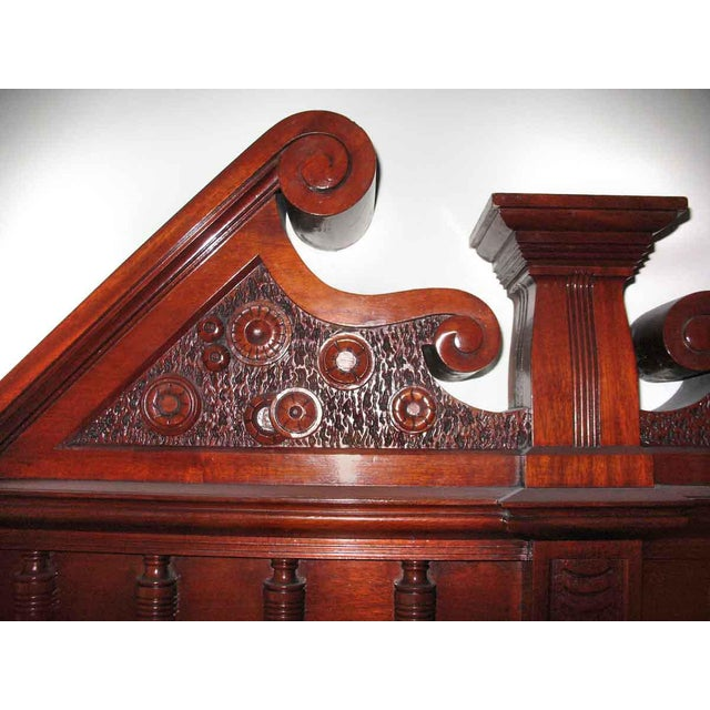 Carved Mahogany & Tile Mantel For Sale - Image 4 of 10