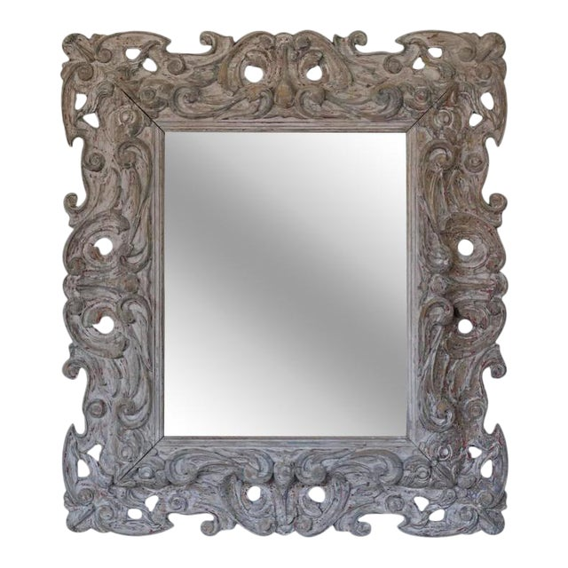 Antique Italian Carved Painted Mirror - Image 1 of 8
