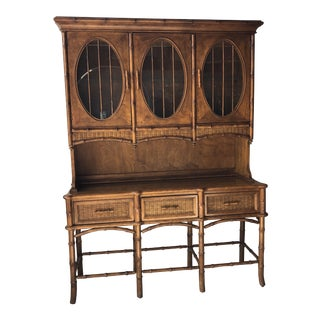 1970s Boho Chic American of Martinsville Walnut Sideboard and Hutch For Sale