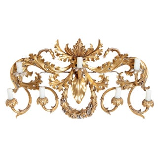 Oversized Italian Baroque-Style 7-Arm Gilt and Silvered Wood Wall Sconce
