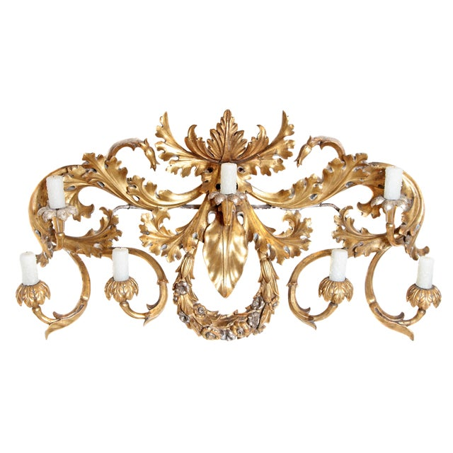 Oversized Italian Baroque-Style 7-Arm Gilt and Silvered Wood Wall Sconce For Sale