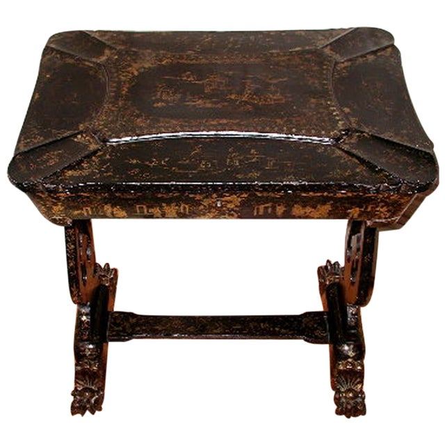 Antique English 1850s Chinoiserie Sewing Chest - Image 1 of 11