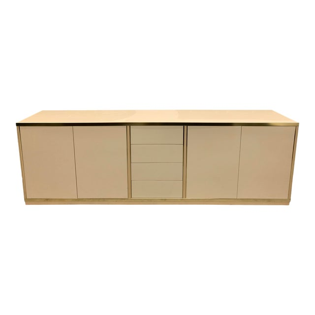 Mario Sabot Hollywood Regency Lacquer and Br Sideboard on modern sideboards and hutches, industrial modern credenzas, country style credenzas, post modern credenzas, modern sideboards with sliding door, made in usa modern credenzas, consoles and credenzas,