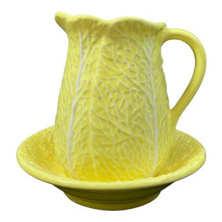 Mid-Century Secla Yellow Cabbage Ware Ceramic Pitcher and Underplate - Set of 2 For Sale