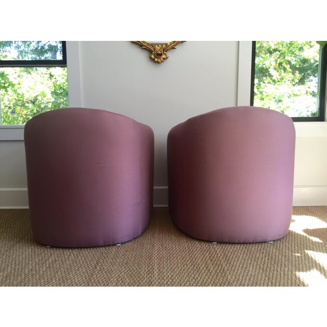 Carter Sculptural Mauve Lounge Chairs - A Pair - Image 4 of 7