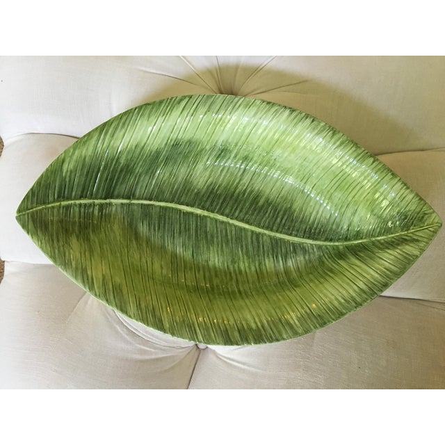 1990s Large Vintage Italian Made, San Marco Ceramics, Banana Leaf Tray/Dish For Sale - Image 6 of 7