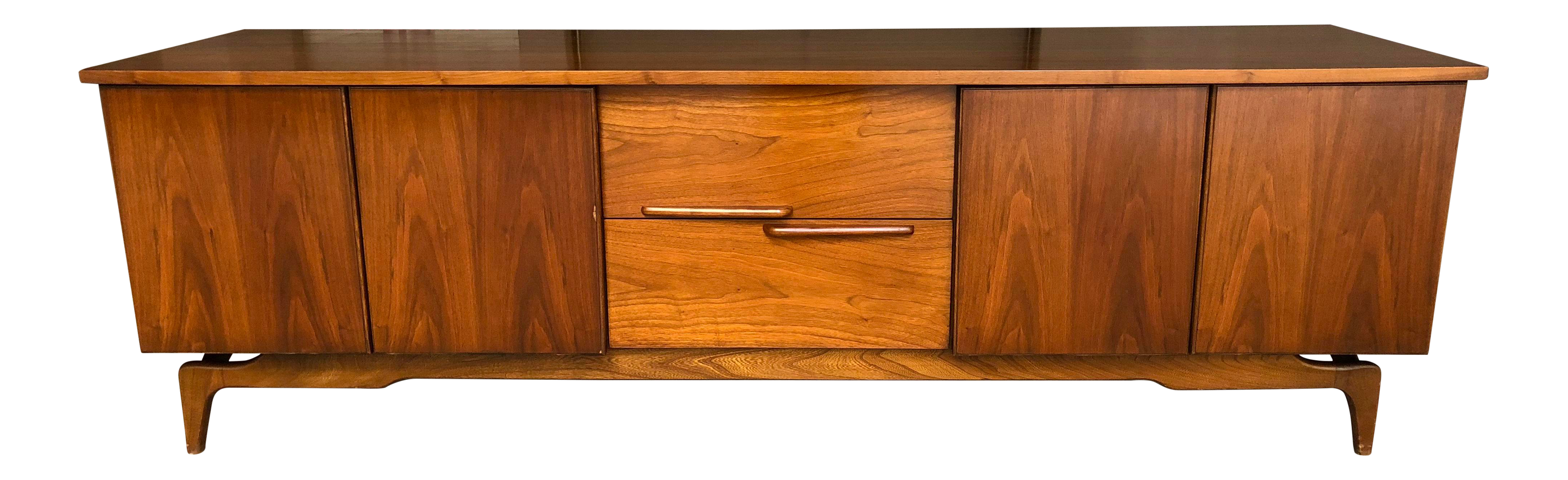 Mid Century Modern Walnut Credenza Sideboard Storage Cabinet Media Console    Young Mfg. Co. Danish Style Lowboy