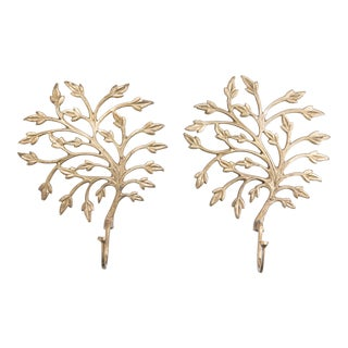 Vintage Brass Tree Leaf Wall Hooks - a Pair For Sale