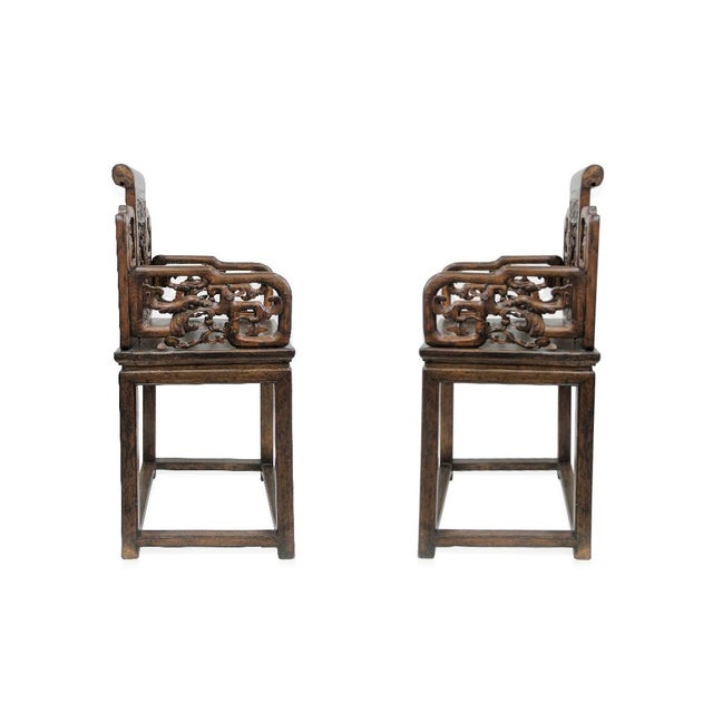 Antique Chinese Qing Armchairs - A Pair - Image 3 of 8