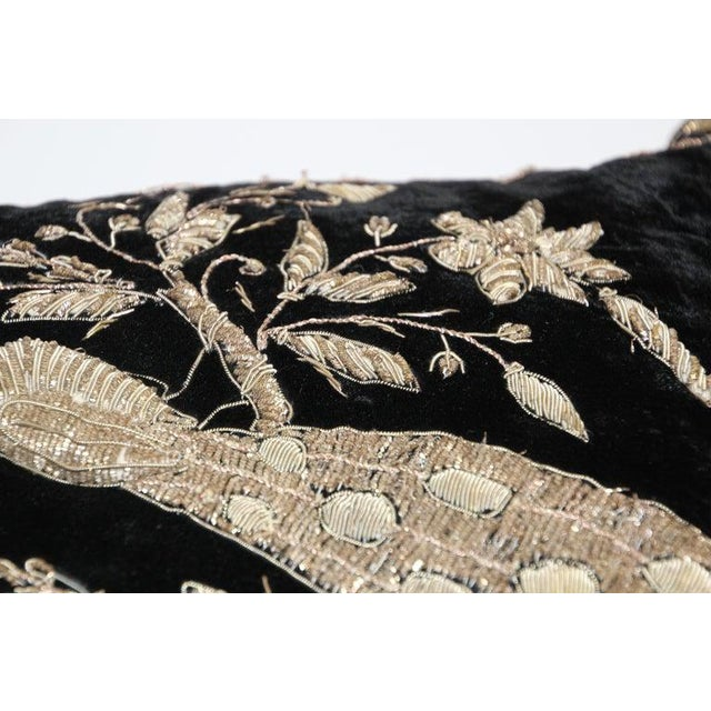 Anglo-Indian Black Velvet Throw Pillow Embroidered With Metallic Gold Threads For Sale - Image 3 of 13