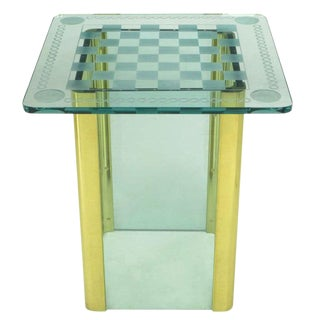 Elegant Etched Glass Game Table in the Style of Pace Collection For Sale