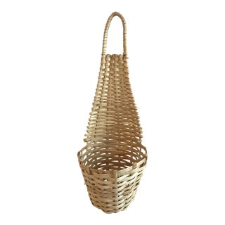 20th Century Country Wicker Hanging Planter Basket For Sale