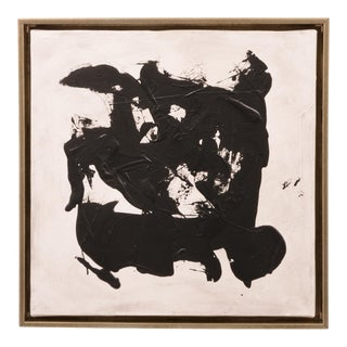 Original Abstract Black and White Painting With Silver Frame For Sale