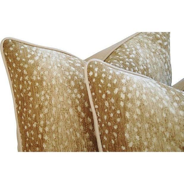 Designer Antelope Fawn Spot Velvet Pillows - Pair - Image 5 of 6