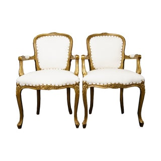Louis XV Gold and White Chairs - a Pair For Sale