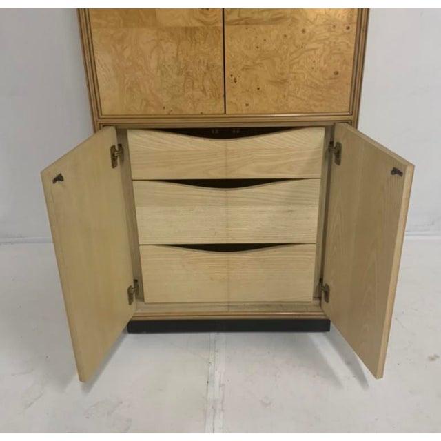 Henredon Olive Burl Burled Wood and Macassar Dresser Cabinet Shelving Wardrobe For Sale - Image 9 of 9